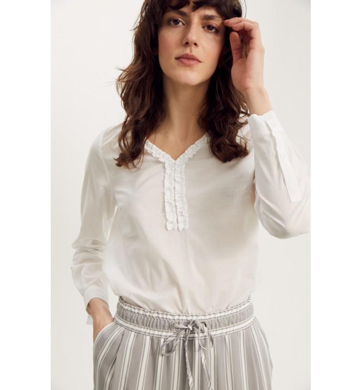 Baumwoll-Bluse mit Rüschen-Kante