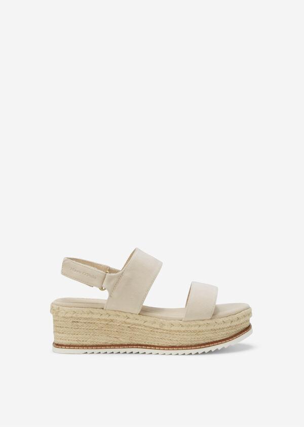 Wedge-Sandale aus Ziegen-Veloursleder
