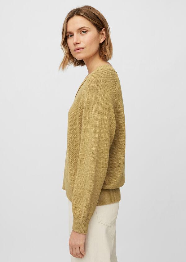 V-Neck-Pullover aus Bändchengarn