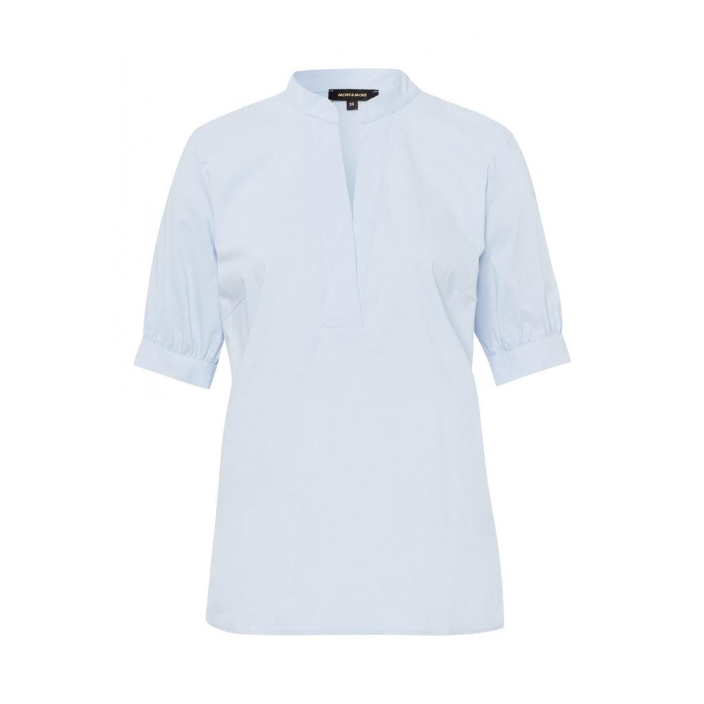Baumwoll-Stretch Bluse mit kleinem Stehkragen