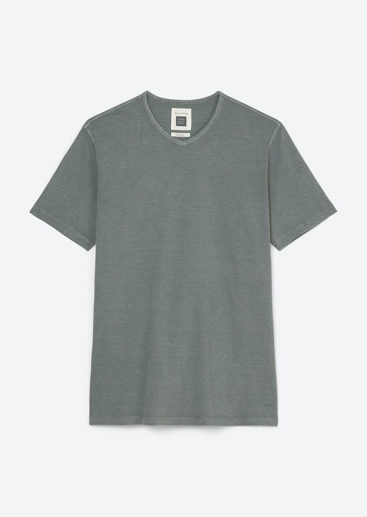 V-Neck Shirt mit leichten Ringeln