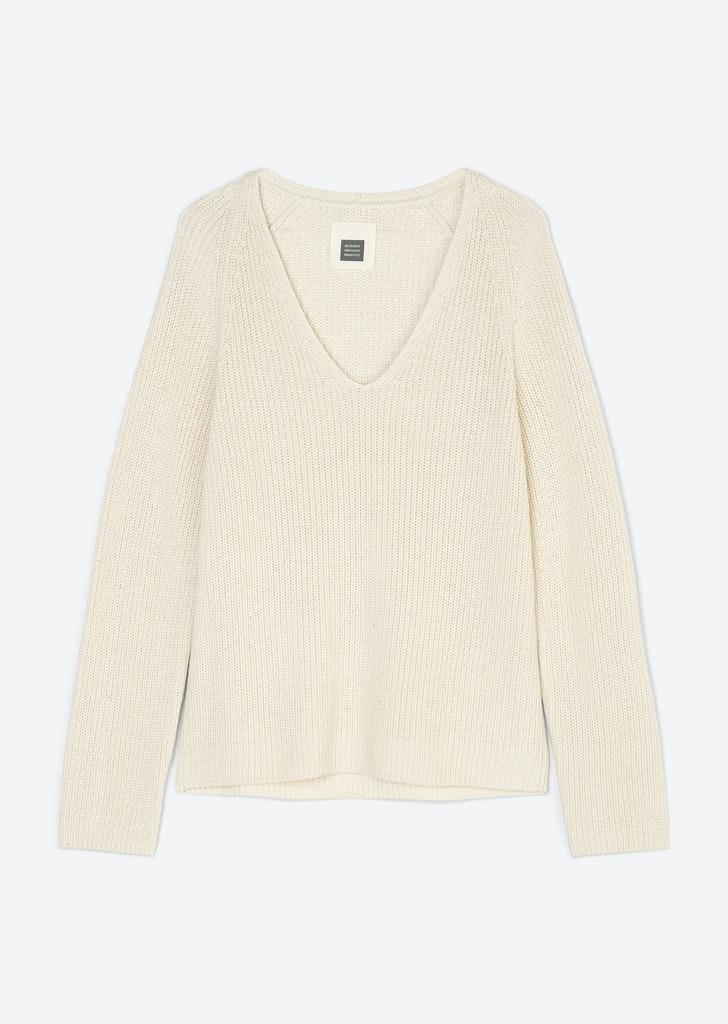 V-Neck-Baumwoll-Pullover