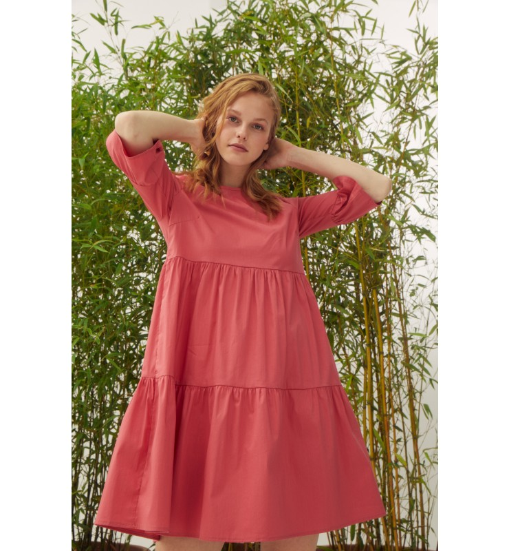 Baumwoll-Kleid mit Volants